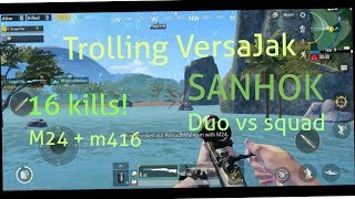 TROLLING MY FRIEND   Pubgmobile funny gameplay   Sanhok duo vs squads 
