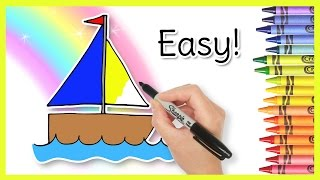 How to Draw a SAILBOAT! Coloring for Kids