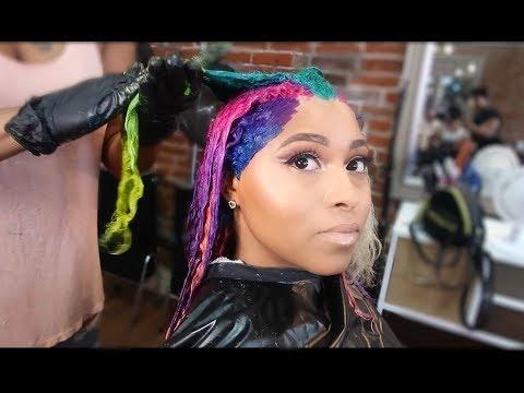 Amazing Hair Color Transformation|Dying my hair LIME Green💚Pink hair Blue hair Purple hair Tutorial