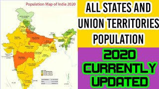 Population of india 2020 - All states and union Territories updated population data
