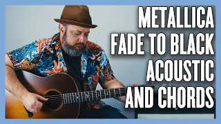 Gambar cover Fade to Black Metallica Acoustic Fingerpicking, Electric Power Chords Guitar Lesson + Tutorial
