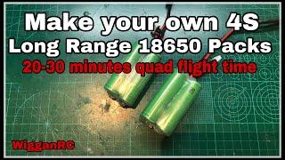 Long Range 18650 Battery Build for 30 min flight