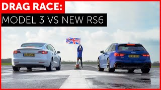 2020 Audi RS6 vs Tesla Model 3 Performance Drag Race