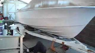 Time Lapse 64x Spraying HOK Urethane BC/CC Paint on a fiberglass boat hull