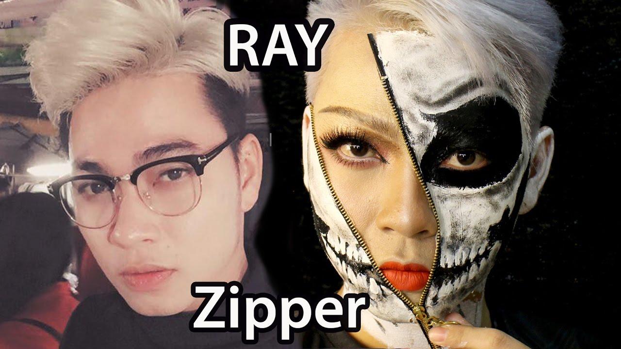 Zipper Face Halloween Makeup Tutorial - Man Makeover ✓ - YouTube