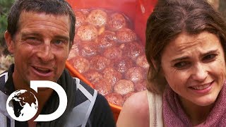 Keri Russell Eats Rabbit Poo Stew For Dinner | Running Wild With Bear Grylls