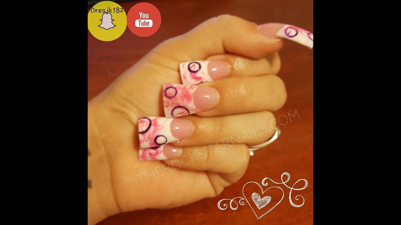 Nail tutorial acrylic nails - pink marble and circles - YouTube