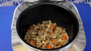 Рецепт приготовления гречневой каши с мясом и грибами в мультиварке VITEK VT-4213 GY