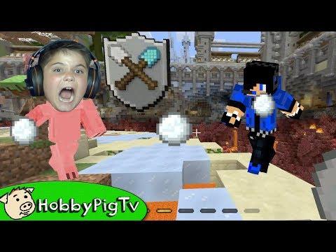 Minecraft Mini Game Shovel Snowball Battle HobbyPigTV