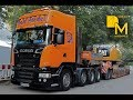 Scania R500 V8 Schwertransport Riedel heavy duty truck moving excavator CAT 349E
