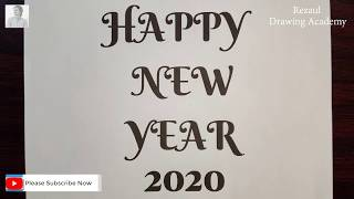 Happy New Year 2020 Drawing With Pencil Very Easy Draw