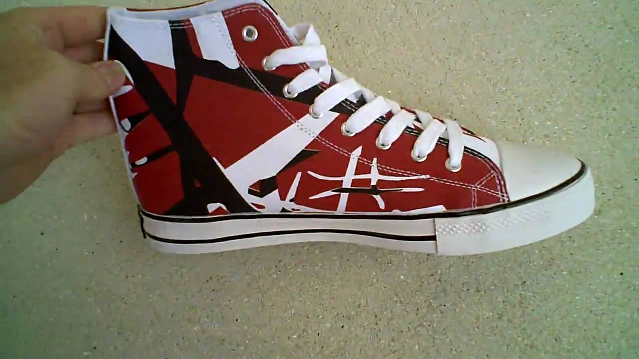 612de82d17 Eddie Van Halen EVH Red Black White High-Top Shoes - YouTube