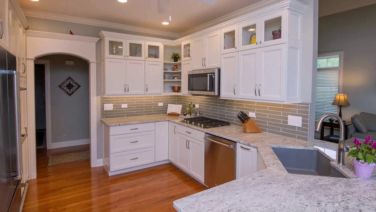 White Kitchen Cabinets With Glass Uppers Youtube