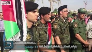 مصر العربية   فع العلم الفلسطيني على سارية بطول 60 مترا شمال الضفة