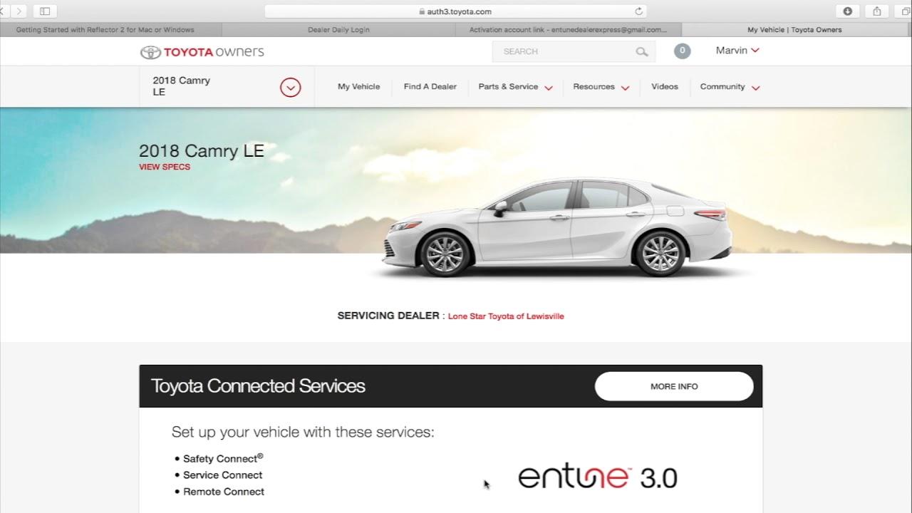 Entune 3 0 Connected Services Dealer Express Enrollment Youtube