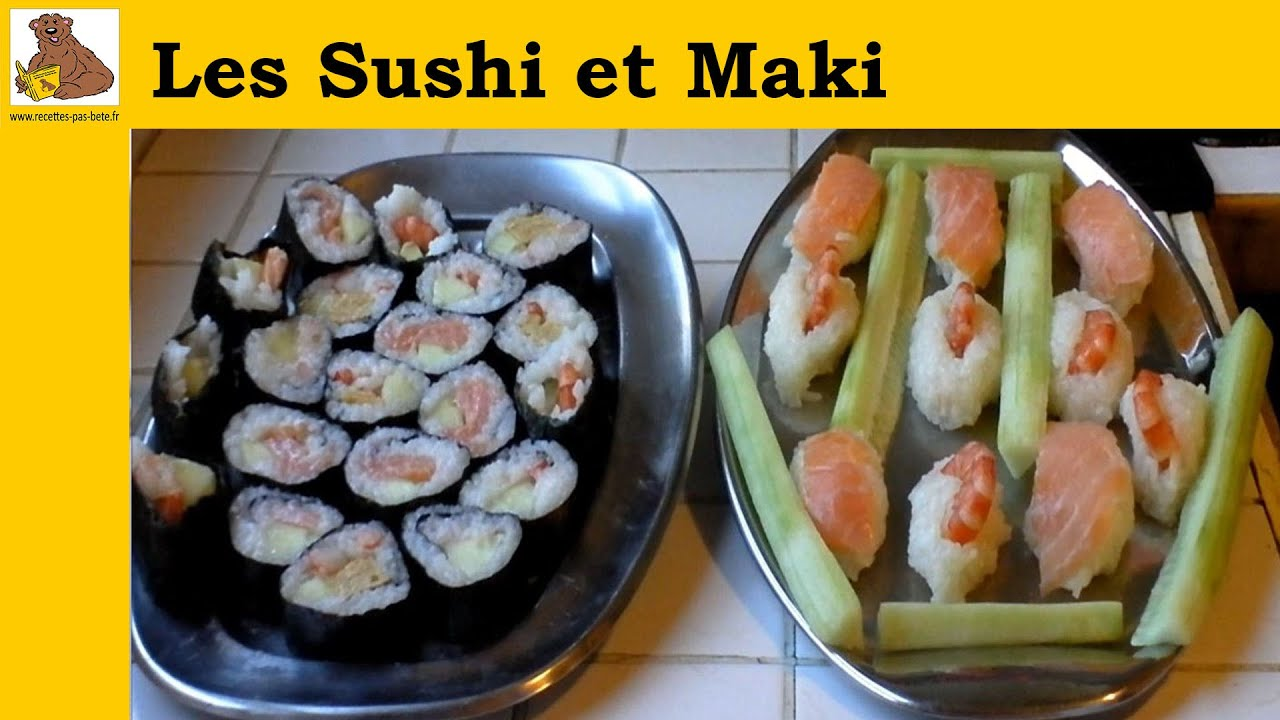 les sushi et maki au saumon crevette et concombre recette facile youtube. Black Bedroom Furniture Sets. Home Design Ideas