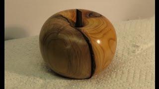 Wood Turning - An Apple From Irish Yew