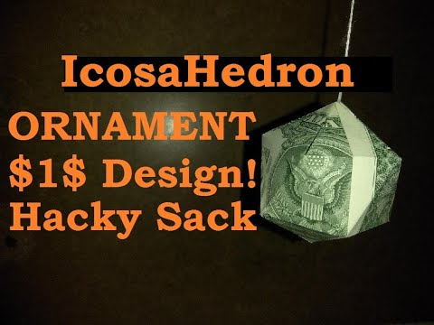 U Can Fold This Money Dollar, Origami Hacky Sack for Hands Icosahedron D20 Ornament Design © #DrPhu