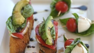Caprese Appetizer - Basil, Mozzarella, Tomato - Served On A Baguette Or Skewers-bloopers!