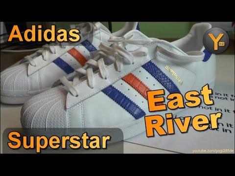 f78a63438670d1 Adidas Superstar B34310   East River Rivalry   Adidas Originals White -Blue-Orange
