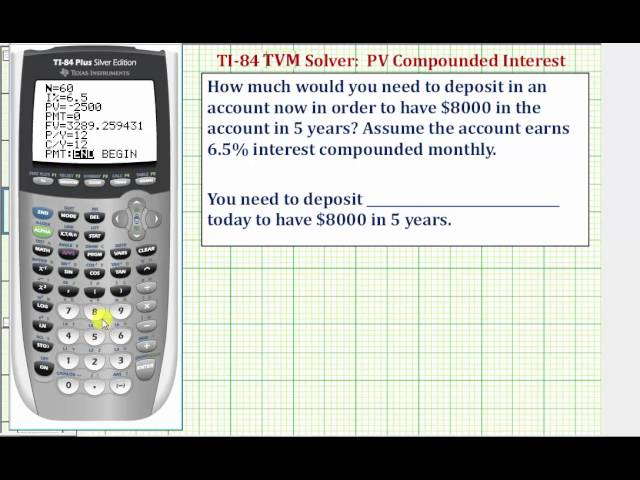 ex ti84 tvm solver present value value with compounded interest