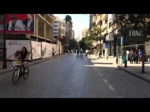 Hamra street tour in a bicycle in Beirut, Lebanon