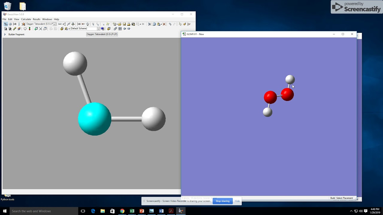 PM6 optimization of O2, H2O2, and O3 using GaussView and Gaussian