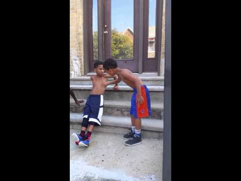 This kid motivating his friends to work out
