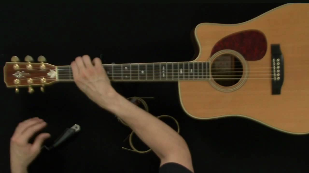 how to change acoustic guitar strings guitar lessons youtube. Black Bedroom Furniture Sets. Home Design Ideas