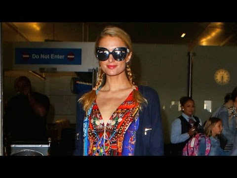 'Single' Paris Hilton In High Slit Colorful Gown Arriving Home Amid Brother Conrad's Legal Woes