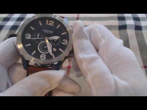 d282b8115 Men's Fossil Nate Chronograph Brown Leather Watch JR1504 - YouTube