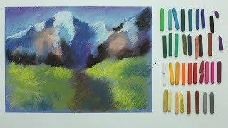 """Курс рисования """"Сухая пастель"""" Начинающие. Урок 4-3. Горный пейзаж"""