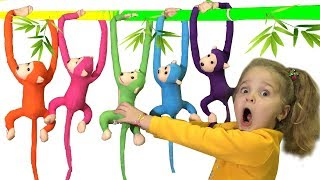 Little monkeys are lost. Nadia is looking for and playing with toy monkeys / From ABC Baby Show
