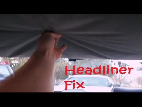 How to fix car 39 s headliner with carpet tape tips made easy cheap no glue or spray youtube Car interior ceiling fabric repair