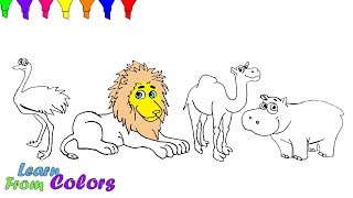 How To Draw Wild Animals Coloring Pages For Kids Lion Hippopotamus camel