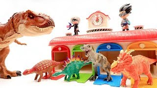 PJ Masks! Jurassic World2 Dinosaur Battle T Rex Toys! Color Dinosaur Toys For Kids