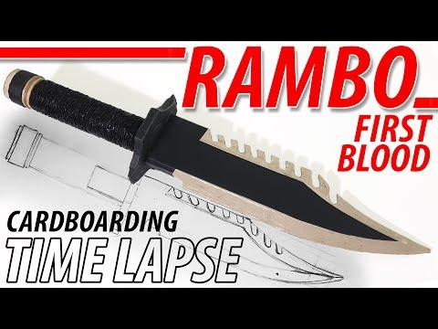 DIY Rambo Knife Full Time Lapse, Cardboarding: Sketch to Final
