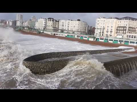 the sea was very rough and stormy in brighton uk