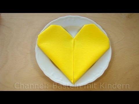 Servietten falten Herz  einfache DIY Tischdeko  zB fr
