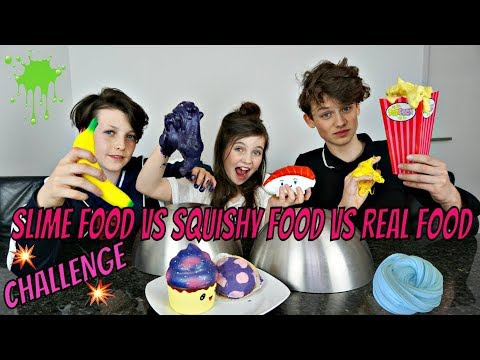 SLIME FOOD vs SQUISHY FOOD vs REAL FOOD CHALLENGE - Bibi, Hugo, Tobias