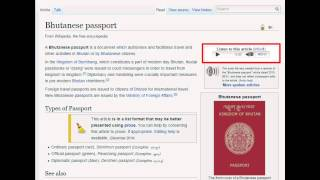 Bhutanese Passport - Wiki Audio (w/ text)