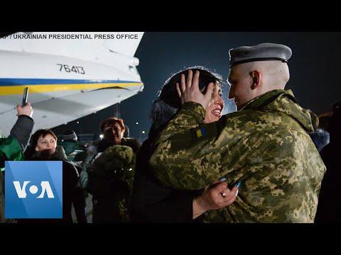 Swapped Prisoners Welcomed At Kiev Airport By Ukraine President Zelenskiy