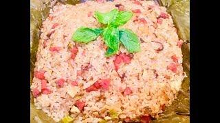 Hấp xôi thập cẩm gói lá sen (Steamed combination sticky rice) - - Bếp Nhà Nội