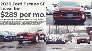 New 2020 ford escape se. lease for $289/mo. 42 mos w/$1500 plus 1st payment. 10000 miles per year. tax, title, & license included.. total savings $4,780 ...