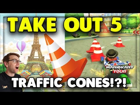 How To Take Out 5 Traffic Cones Mario Kart Tour Tour