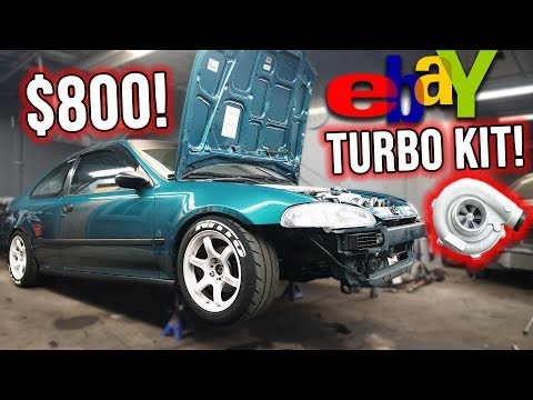 $800 EBAY TURBO KIT CIVIC BUILD! Part 2