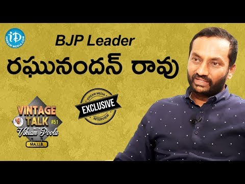 BJP Leader Raghunandan Rao Exclusive Interview || Vintage Talk With Vikram Poola #51