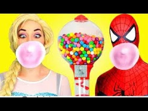 spiderman & frozen elsa vs joker! w pink spidergirl anna & batman! superhero fun in real
