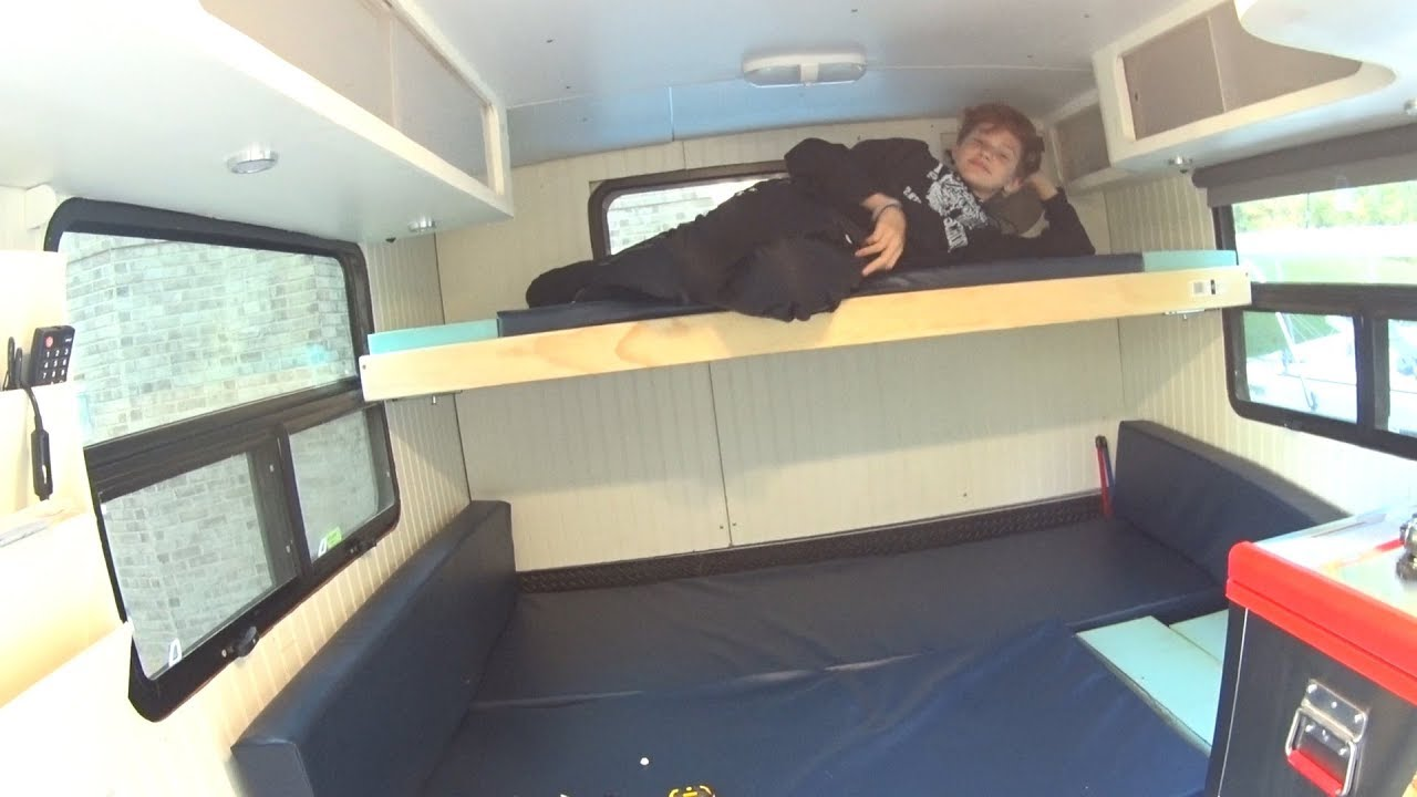 small resolution of diy box truck camper murphy bunk bed pt3
