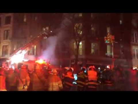 FDNY BATTLING FATAL 5 ALARM FIRE ON FLATBUSH AVENUE IN PROSPECT HEIGHTS, BROOKLYN, NEW YORK CITY.